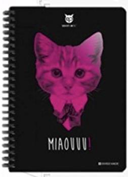 Carnet noir : tête de chat avec col dur et cravate